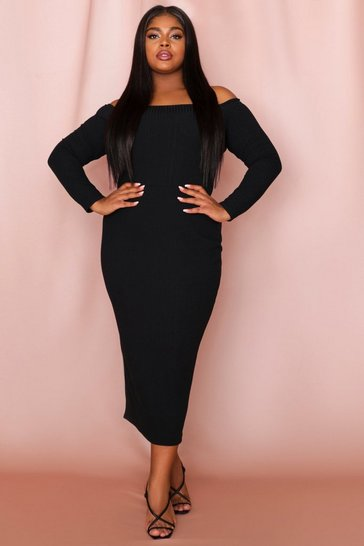 Black Off The Shoulder Long Sleeve Rib Midi Dress