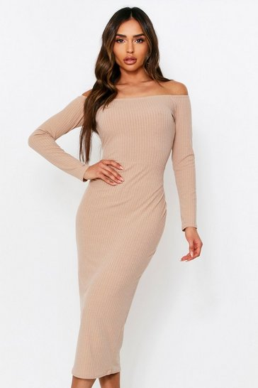 Stone Off The Shoulder Long Sleeve Rib Midi Dress