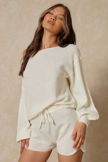 Cream Waffle Knit Slash Neck Short Set