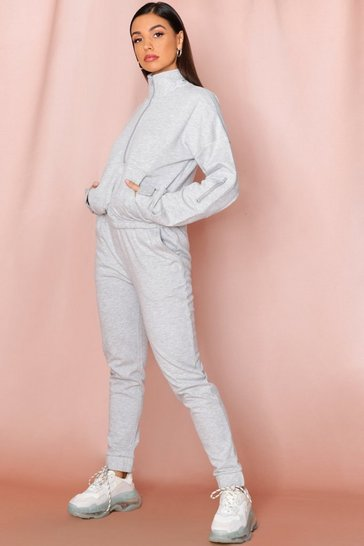 Grey High Neck Zip Front Sweat + Jogger Set