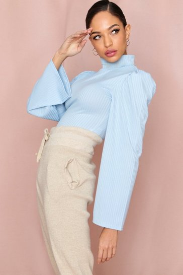 Dusty blue Roll Neck Ribbed Puff Shoulder Bodysuit