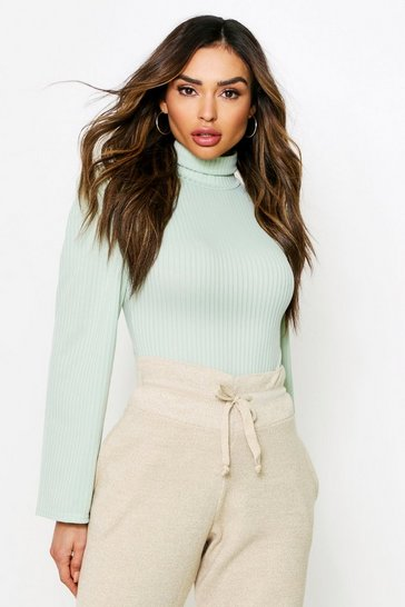 Sage Turtleneck Ribbed Puff Shoulder Thong Bodysuit