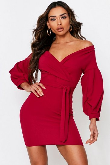 Berry Off The Shoulder Wrap Mini