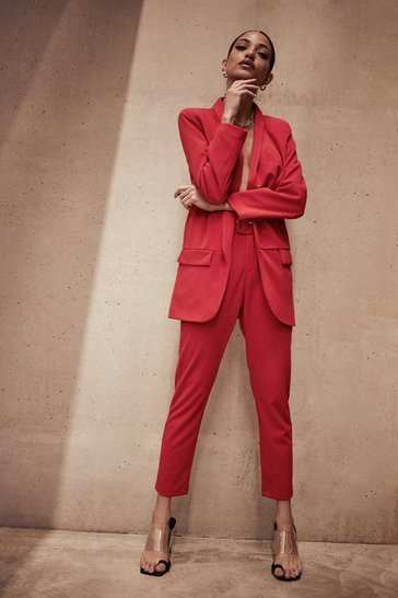 Red belted tailored trouser