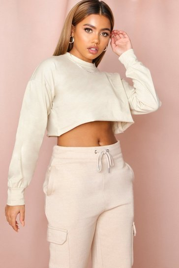Stone Oversized Long Sleeve Cropped T-Shirt