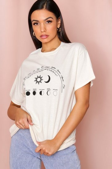 Cream Star Sign Printed T-Shirt