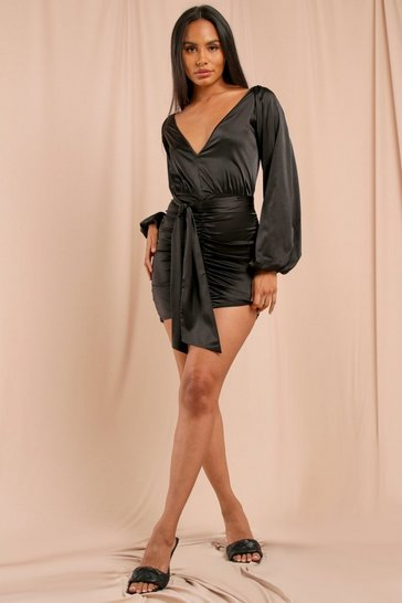 Black Plunge Front Ruched Satin Dress