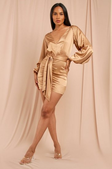 Camel Plunge Front Ruched Satin Dress