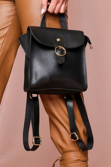 Black Square Ring Detail Backpack