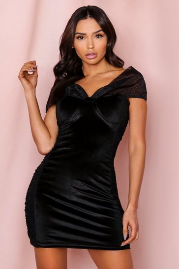 Black Bardot Velvet + Organza Mini Dress