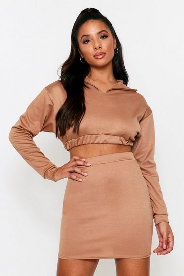 Camel High Neck Cropped Lounge Set