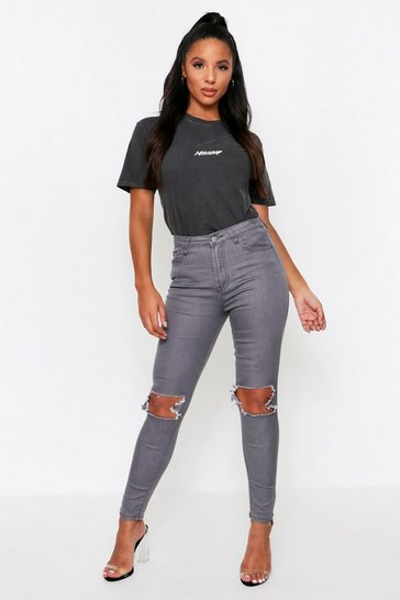 Womens Grey Ripped Knee Skinny Jeans