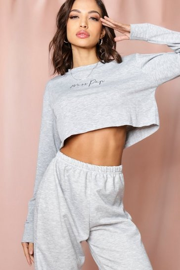 Grey Misspap Slogan Cropped Sweatshirt