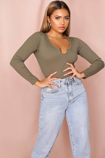 Khaki Notch Front Long Sleeve Ribbed Thong Bodysuit