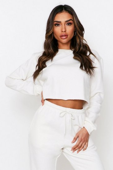 Cream Oversized Fleece Back Crop Sweat