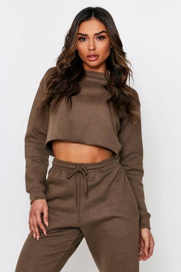 Khaki Oversized Fleece Back Crop Sweat