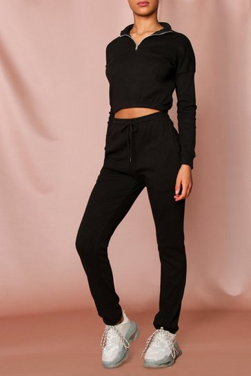 Black Rib High Neck Zip Jogger Coord