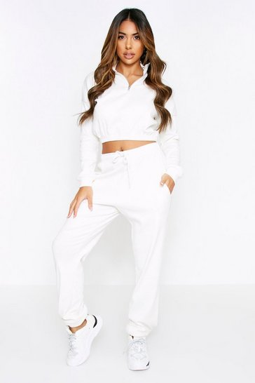Cream Rib High Neck Zip Up Jogger Coord