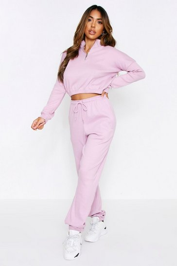 Lilac Rib High Neck Zip Up Jogger Coord