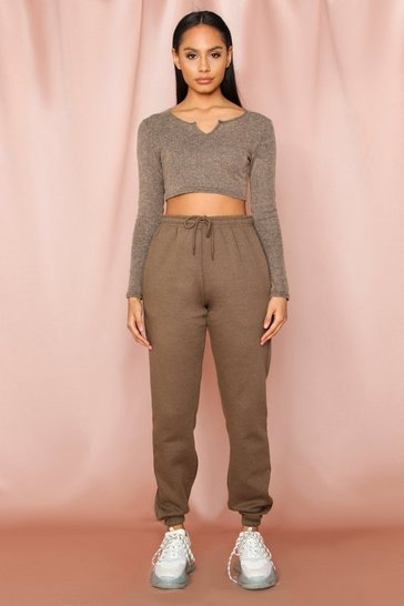 Khaki Oversized Fleece Elasticated Cuff Jogger
