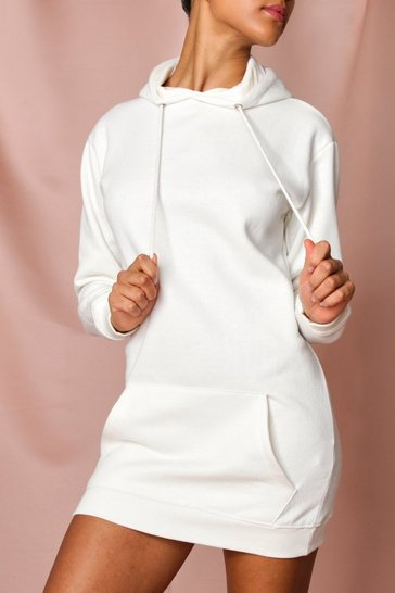 Cream Fleece Hooded Sweater Dress