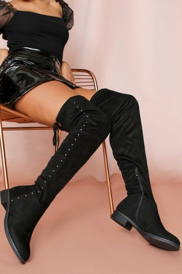 Black Over The Knee Stud Detail Boots