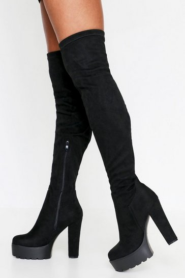 Black Platform Over The Knee Boots