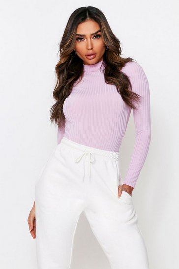 Lilac Rib Open Back High Neck Bodysuit