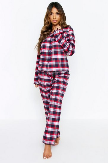 Red Brushed Check Long PJ Set