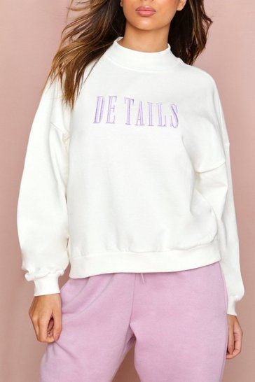 Lilac Details Embroidered High Neck Sweatshirt