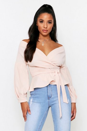 Blush Off Shoulder Wrap Top