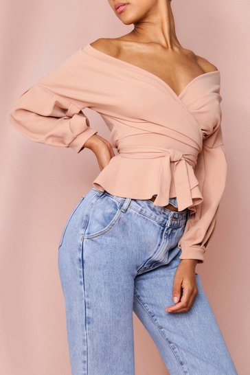 Stone Off Shoulder Wrap Top