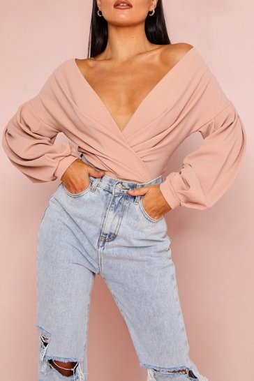 Stone Off Shoulder Plunge Wrap Thong Bodysuit