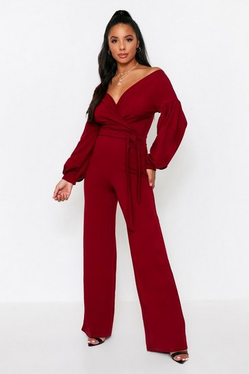 Wine Off The Shoulder Wide Leg Jumpsuit