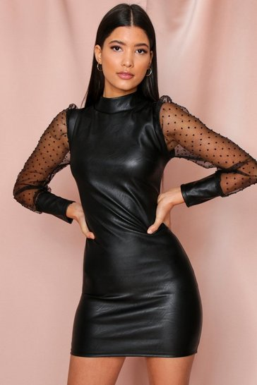 Black Faux Leather Mini Dress With Spotty Organza Sleeve