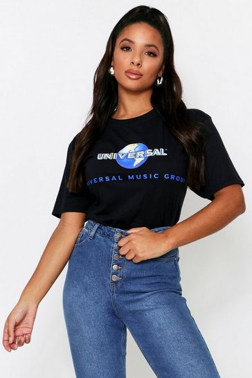 Black Universal Music Oversized License T shirt