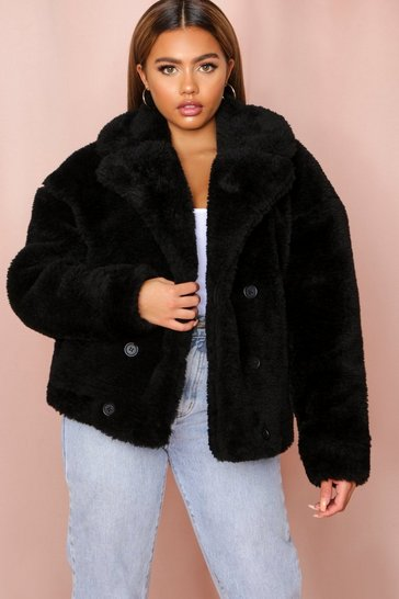 Black Teddy Fur Double Breasted Jacket