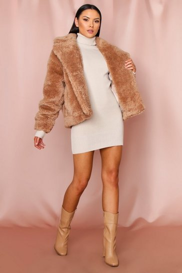 Cream Teddy Faux Fur Double Breasted Jacket