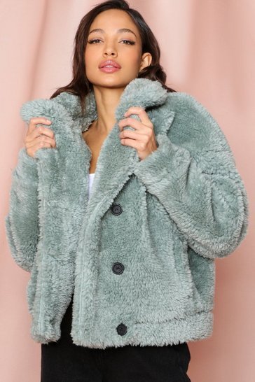 Sage Teddy Fur Double Breasted Jacket