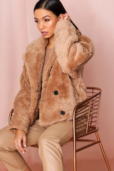 Taupe Teddy Faux Fur Double Breasted Jacket
