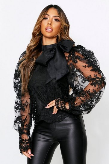 Black Lace Blouse With Extreme Puff Shoulder