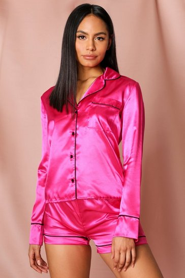 Fushia Satin Shorts PJ Set