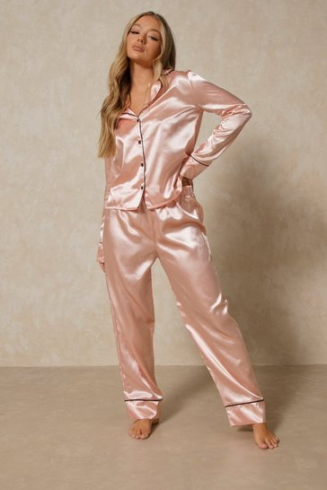 Blush Satin PJ long sleeve Set