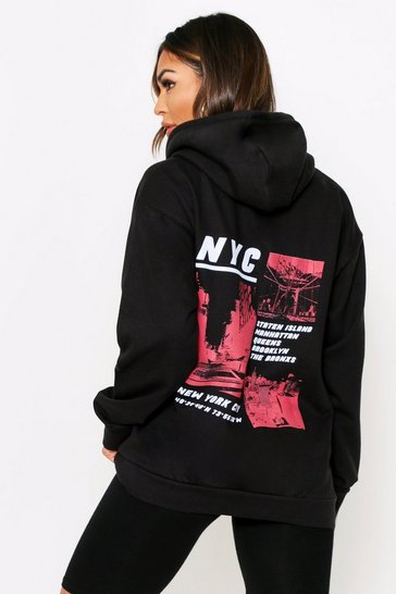 Black NYC Graphic Oversized Hooded Sweatshirt