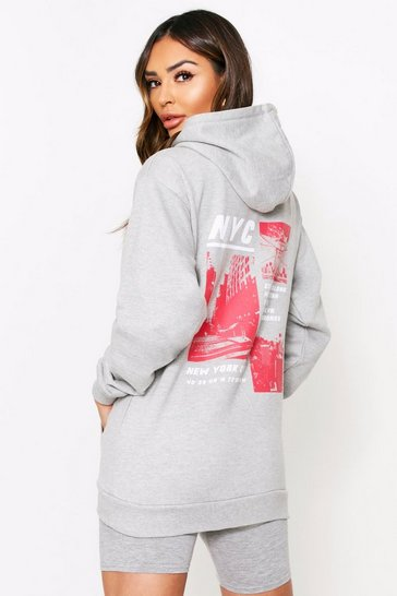 Grey marl NYC Skyline Graphic Oversized Hooded Sweat