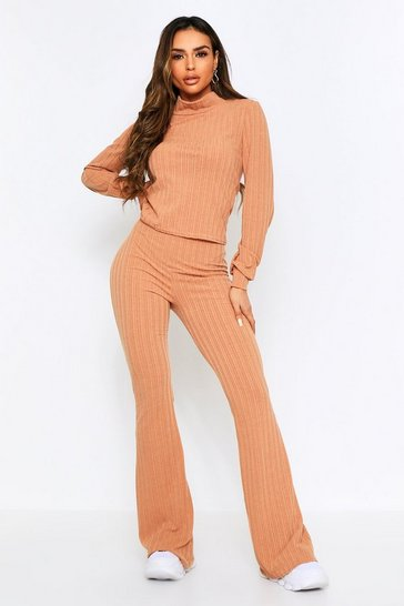 Camel High Neck Rib Crop Lounge Set