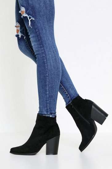 Black Faux Suede Pointed Toe Ankle Boot