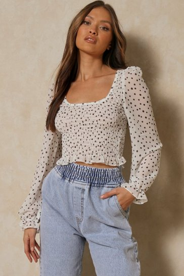 White Polka Dot Ruched Frill Sleeve Top