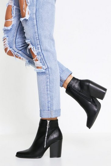 Black Zip Detail Ankle Boot