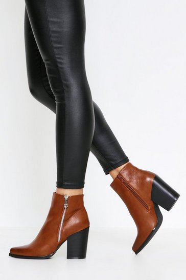 Tan Zip Detail Ankle Boot
